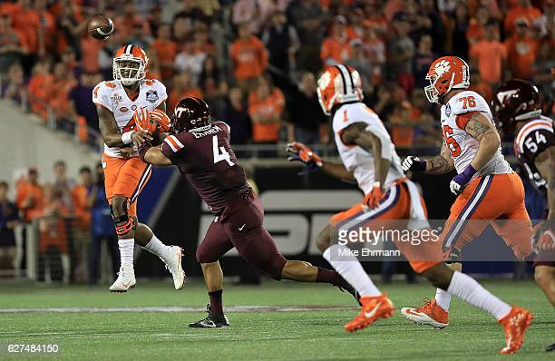 Deshaun Watson of the Clemson Tigers passes during the ACC Championship against the Virginia Tech Hokies on December 3 2016 in Orlando Florida