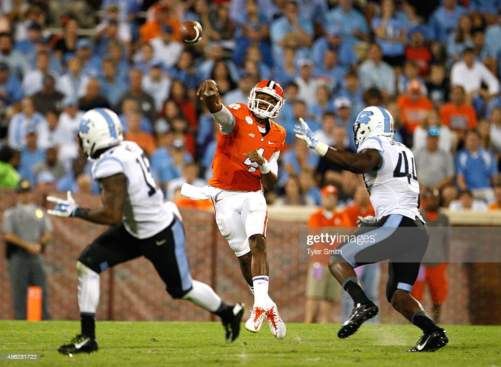 Deshaun Watson #4 of the Clemson Tigers passes during the third quarter of the game against the North Carolina Tar Heels at Memorial Stadium on September 27, 2014 in Clemson, South Carolina. Watson set the record for total touchdown passes by a Clemson Tiger with 6 on the day.