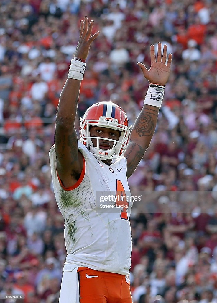 Deshaun Watson #4 of the Clemson Tigers reacts after a play during their game against the South Carolina Gamecocks at Williams-Brice Stadium on November 28, 2015 in Columbia, South Carolina.