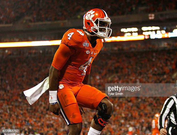 Deshaun Watson of the Clemson Tigers reacts after a touchdown during the game against the South Carolina Gamecocks at Memorial Stadium on November...