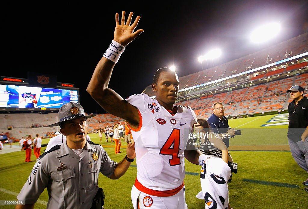 Deshaun Watson #4 of the Clemson Tigers reacts after defeating the Auburn Tigers 19-13 at Jordan Hare Stadium on September 3, 2016 in Auburn, Alabama.