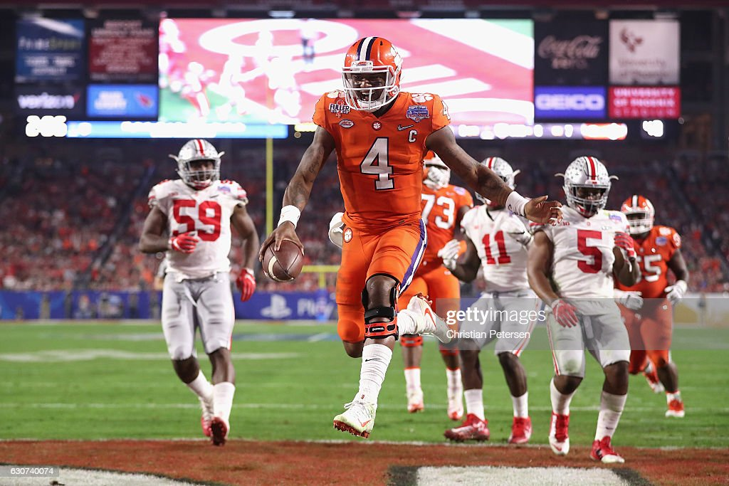 Deshaun Watson #4 of the Clemson Tigers reacts after scoring a third quarter touchdown during the 2016 PlayStation Fiesta Bowl against the Ohio State Buckeyes at University of Phoenix Stadium on December 31, 2016 in Glendale, Arizona.