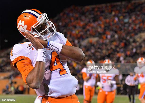 Deshaun Watson of the Clemson Tigers reacts after scoring a touchdown against the Wake Forest Demon Deacons during the game at BBT Field on November...