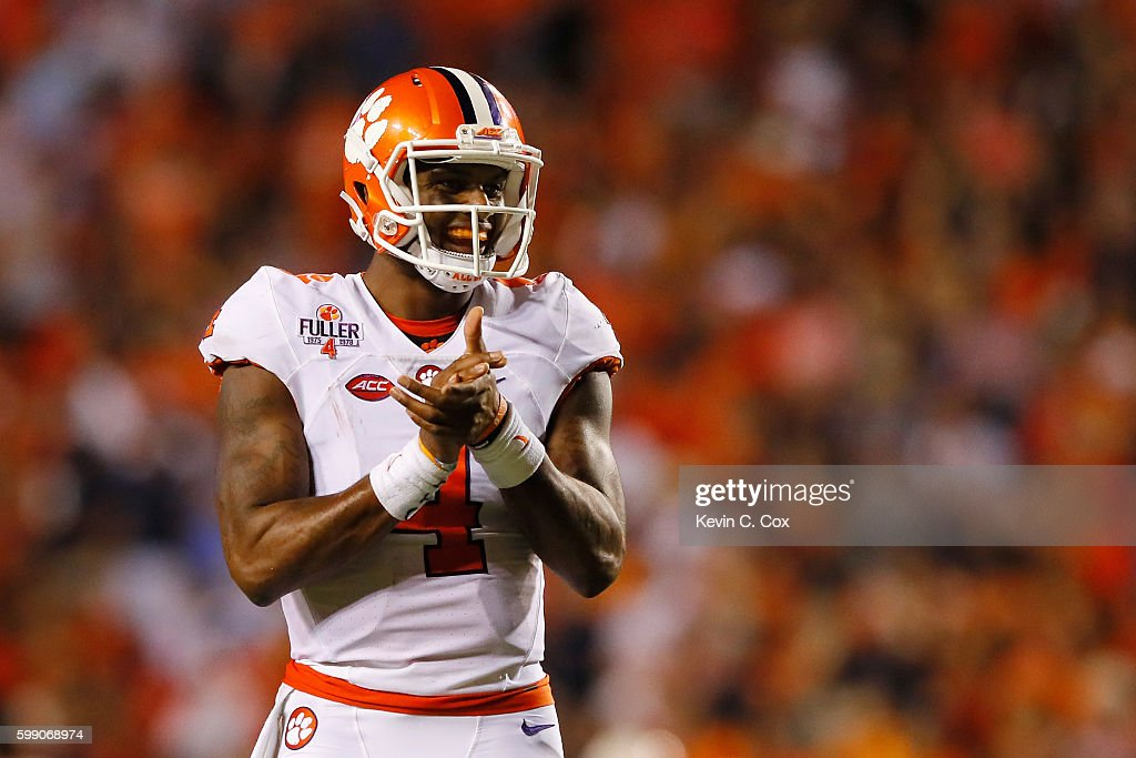 Deshaun Watson #4 of the Clemson Tigers reacts during the second half against the Auburn Tigers at Jordan Hare Stadium on September 3, 2016 in Auburn, Alabama.