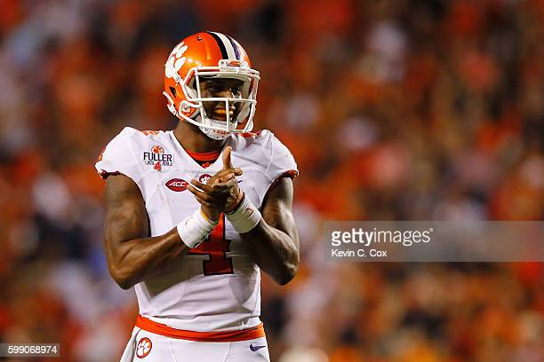 Deshaun Watson of the Clemson Tigers reacts during the second half against the Auburn Tigers at Jordan Hare Stadium on September 3 2016 in Auburn...
