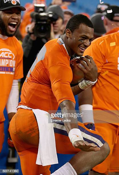 Deshaun Watson of the Clemson Tigers strikes a Heisman pose after defeating the North Carolina Tar Heels 4537 at the Atlantic Coast Conference...