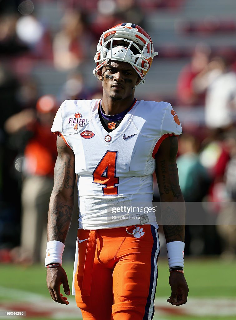 Deshaun Watson #4 of the Clemson Tigers warms up before their game against the South Carolina Gamecocks at Williams-Brice Stadium on November 28, 2015 in Columbia, South Carolina.