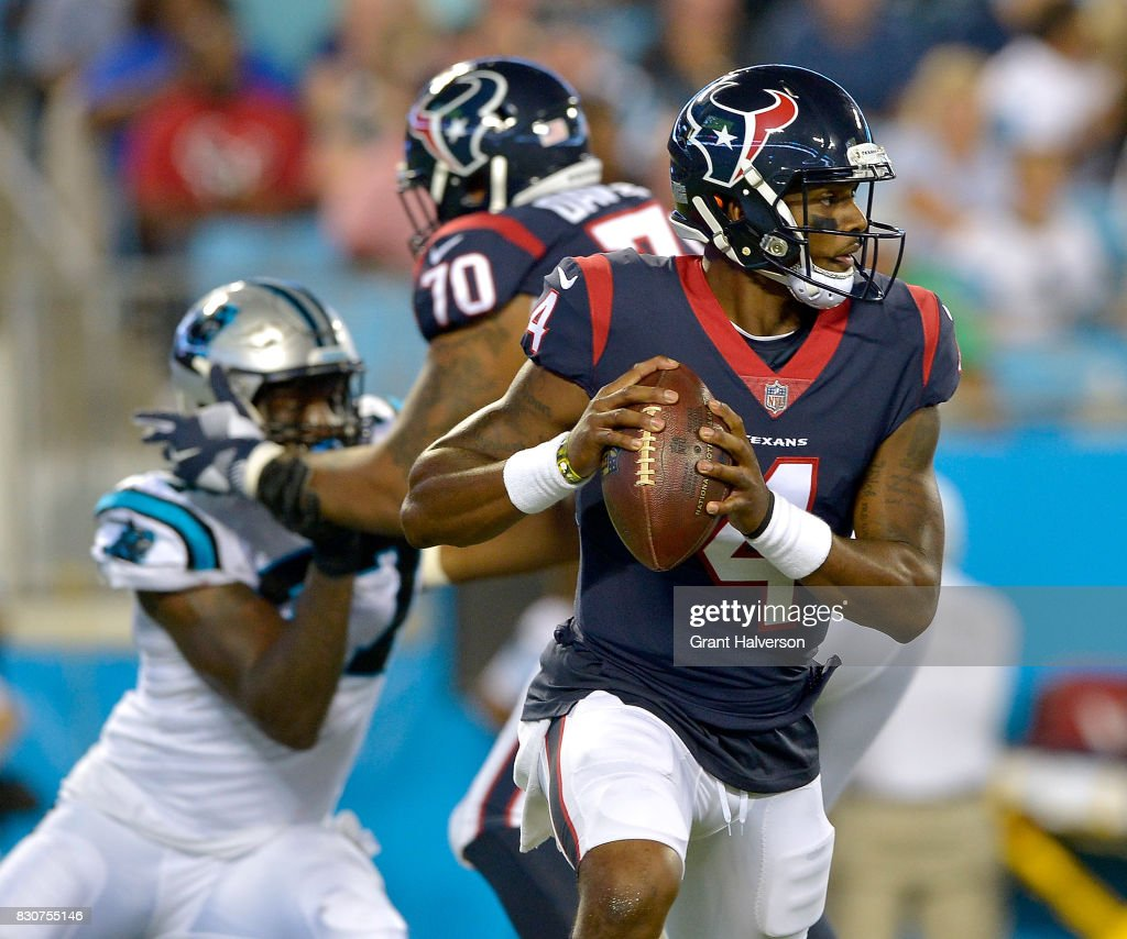 Deshaun Watson #4 of the Houston Texans against the Carolina Panthers during their game at Bank of America Stadium on August 9, 2017 in Charlotte, North Carolina.
