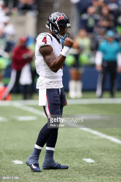Deshaun Watson of the Houston Texans celebrates during the game against the Seattle Seahawks at CenturyLink Field on October 29 2017 in Seattle...
