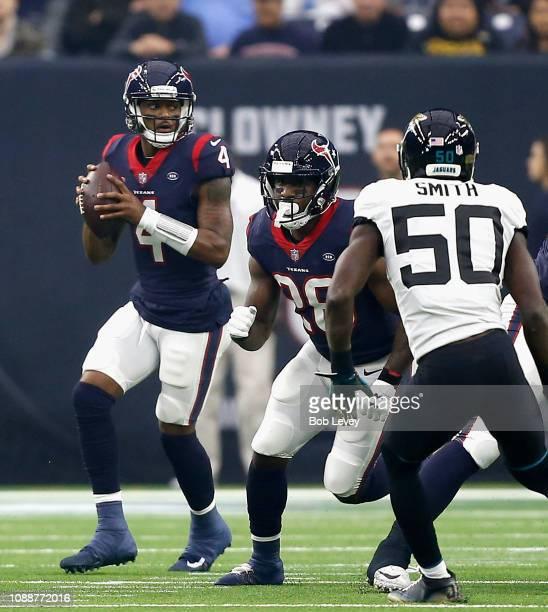 Deshaun Watson of the Houston Texans during game action against the Jacksonville Jaguars at NRG Stadium on December 30 2018 in Houston Texas
