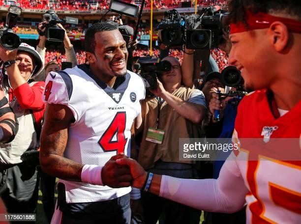 Deshaun Watson of the Houston Texans greets Patrick Mahomes of the Kansas City Chiefs following the Texans 3124 win over the Chiefs at Arrowhead...