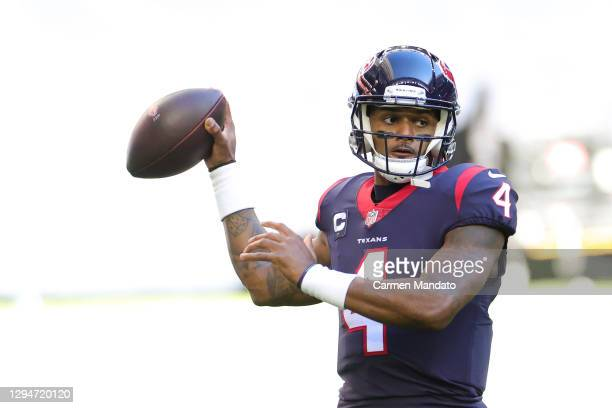 Deshaun Watson of the Houston Texans in action against the Tennessee Titans during a game at NRG Stadium on January 03, 2021 in Houston, Texas.