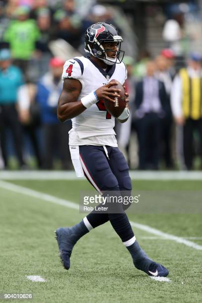 Deshaun Watson of the Houston Texans in action during the game against the Seattle Seahawks at CenturyLink Field on October 29 2017 in Seattle...