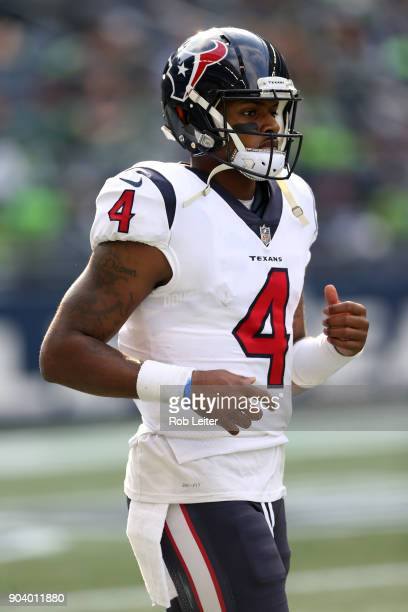 Deshaun Watson of the Houston Texans looks on during the game against the Seattle Seahawks at CenturyLink Field on October 29 2017 in Seattle...