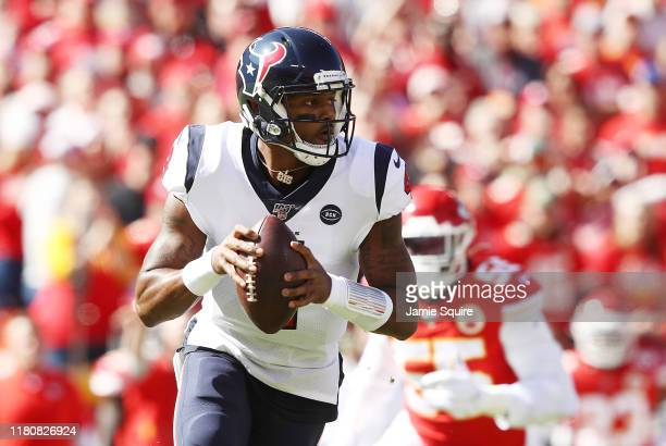 Deshaun Watson of the Houston Texans looks to pass during the first half against the Kansas City Chiefs at Arrowhead Stadium on October 13 2019 in...
