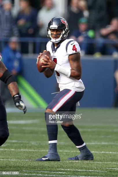 Deshaun Watson of the Houston Texans looks to pass during the game against the Seattle Seahawks at CenturyLink Field on October 29 2017 in Seattle...