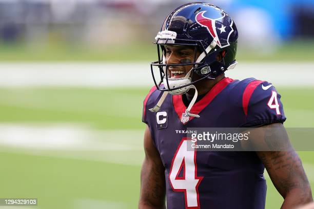 Deshaun Watson of the Houston Texans participates in warmups prior to a game against the Tennessee Titans at NRG Stadium on January 03, 2021 in...