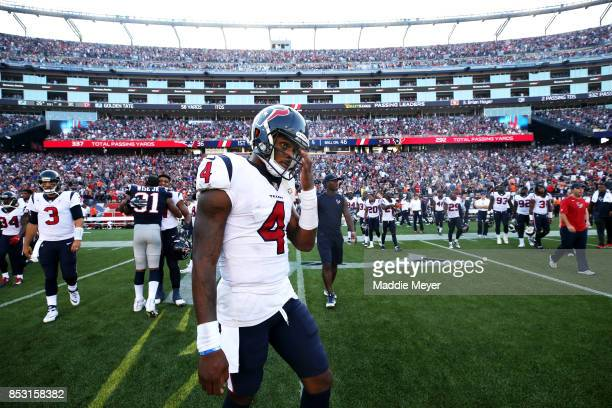 Deshaun Watson of the Houston Texans reacts after the Texans lost to the Patriots 3633 at Gillette Stadium on September 24 2017 in Foxboro...
