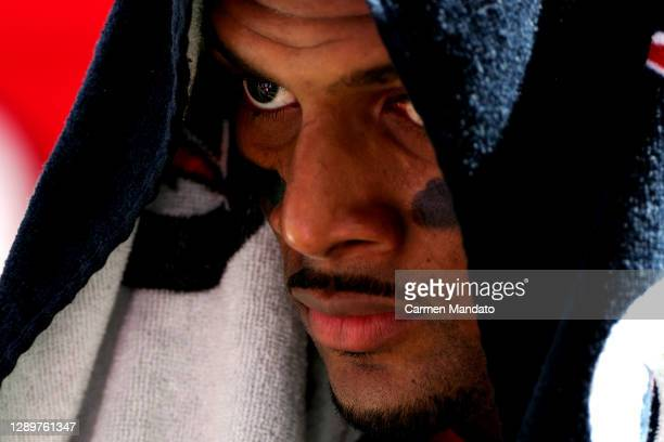 Deshaun Watson of the Houston Texans reacts during the first half against the Indianapolis Colts at NRG Stadium on December 06, 2020 in Houston,...