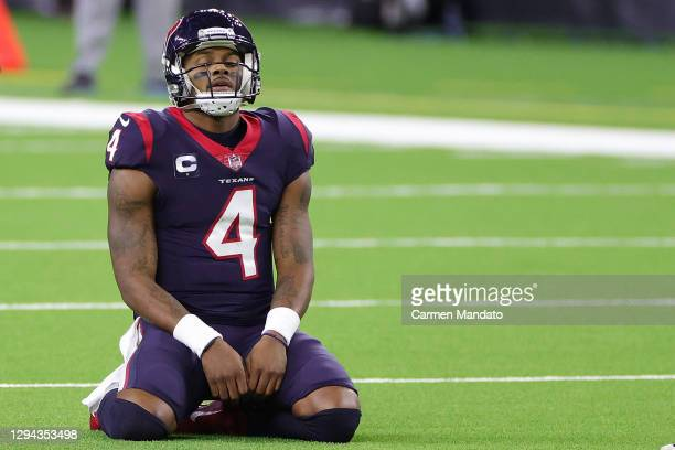 Deshaun Watson of the Houston Texans reacts to a play during a game against the Tennessee Titans at NRG Stadium on January 03, 2021 in Houston, Texas.