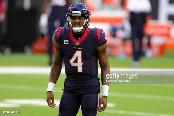 Deshaun Watson of the Houston Texans reacts to a play during the first half against the Tennessee Titans at NRG Stadium on January 03, 2021 in...