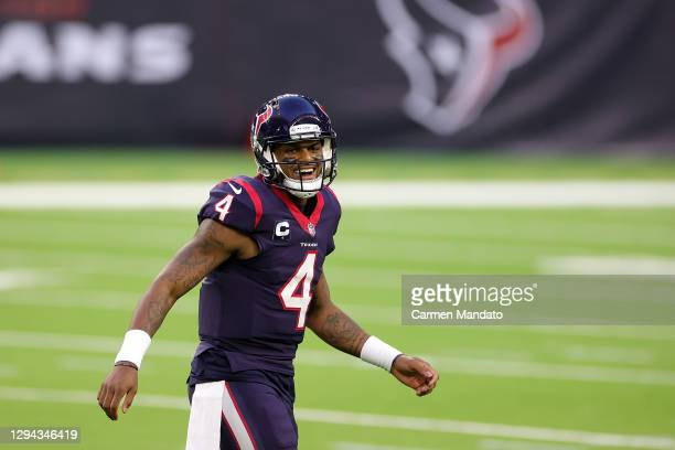 Deshaun Watson of the Houston Texans reacts to a touchdown during the second half of a game against the Tennessee Titans at NRG Stadium on January...