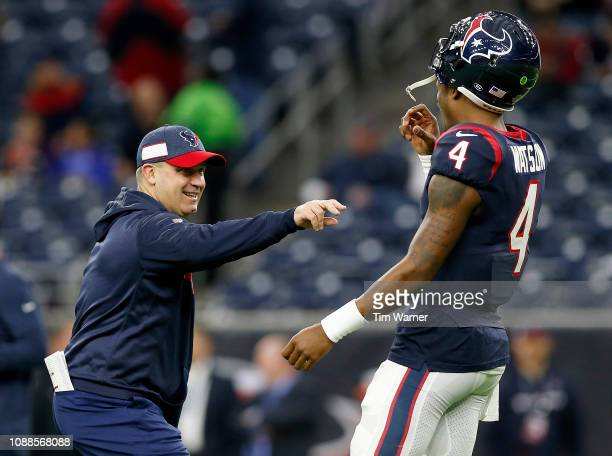 Deshaun Watson of the Houston Texans talks with head coach Bill O'Brien of the Houston Texans before the game against the Jacksonville Jaguars at NRG...