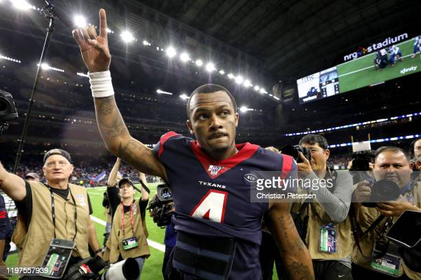 Deshaun Watson of the Houston Texans walks off the field following his teams 2219 win against the Buffalo Bills in the AFC Wild Card Playoff game at...