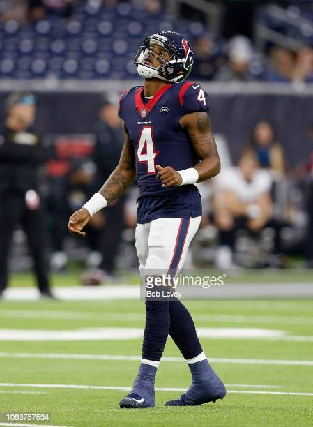 Deshaun Watson of the Houston Texans warms up before playing the Jacksonville Jaguars at NRG Stadium on December 30 2018 in Houston Texas