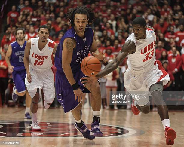 Deshawn Delaney of the New Mexico Lobos steals the ball from Blake Davis of the Grand Canyon Antelopes during the Monday night game at The Pit on...