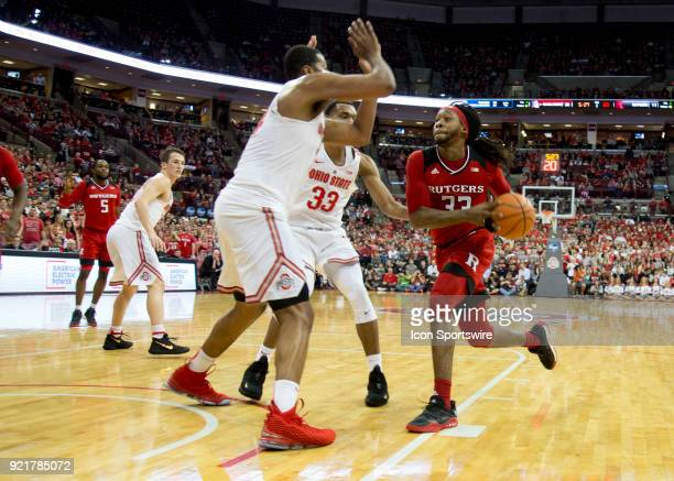 Deshawn Freeman of the Rutgers Scarlet Knights drives the ball to the hoop during the game between the Ohio State Buckeyes and the Rutgers Scarlet...
