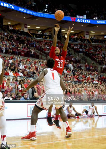 Deshawn Freeman of the Rutgers Scarlet Knights shoots the ball during the game between the Ohio State Buckeyes and the Rutgers Scarlet Knights at the...