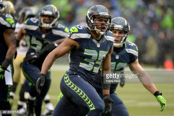 DeShawn Shead of the Seattle Seahawks reacts after tackling Darren Sproles of the New Orleans Saints on a kick return in the second quarter during...
