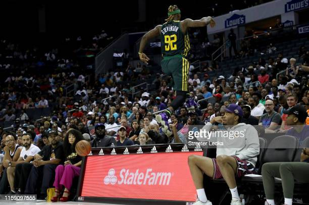DeShawn Stevenson of Ball Hogs chases a loose ball against Enemies during week two of the BIG3 three on three basketball league at Spectrum Center on...