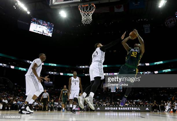 DeShawn Stevenson of Ball Hogs shoots against Enemies during week two of the BIG3 three on three basketball league at Spectrum Center on June 29,...
