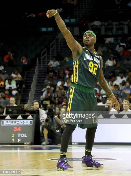 DeShawn Stevenson of Ball Hogs shoots against the Enemies during week two of the BIG3 three on three basketball league at Spectrum Center on June 29,...