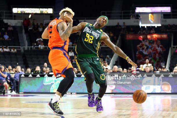 DeShawn Stevenson of the Ball Hogs battles for the ball against 3's Company during week four of the BIG3 three on three basketball league at Dunkin'...