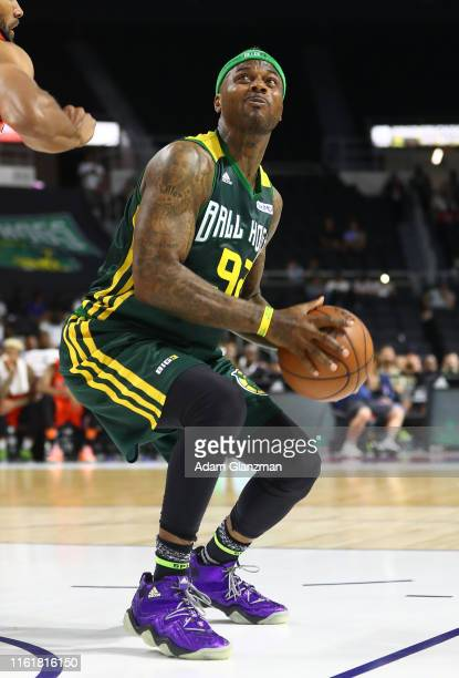 DeShawn Stevenson of the Ball Hogs handles the ball against 3's Company during week four of the BIG3 three on three basketball league at Dunkin'...