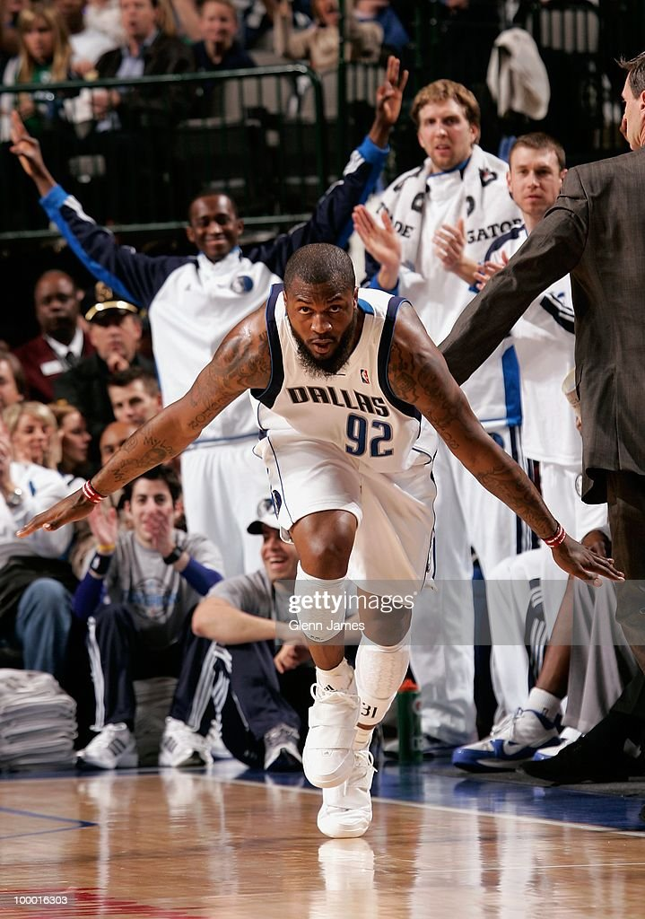DeShawn Stevenson #92 of the Dallas Mavericks celebrates during the game against the Sacramento Kings at the American Airlines Center on March 5, 2010 in Dallas, Texas. The Mavericks won 108-100.