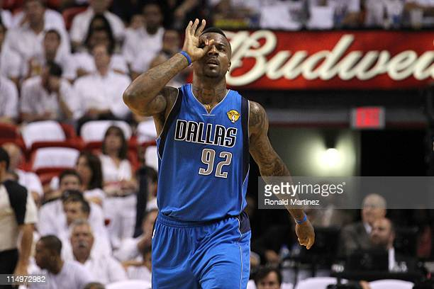 DeShawn Stevenson of the Dallas Mavericks reacts after he made a 3point shot in the third quarter against the Miami Heat in Game One of the 2011 NBA...