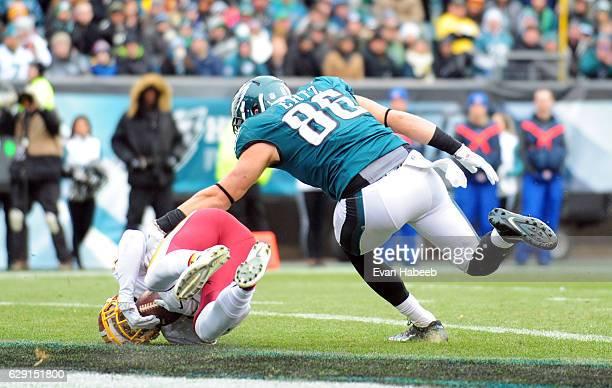 Deshazor Everett of the Washington Redskins intercepts a pass intended for Zach Ertz of the Philadelphia Eagles in the first quarter at Lincoln...