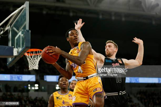 Deshon Taylor of the Kings gathers the ball during the round five NBL match between Melbourne United and the Sydney Kings at Melbourne Arena on...
