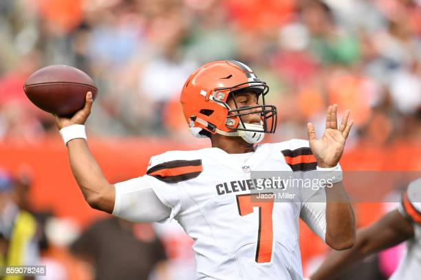 DeShone Kizer of the Cleveland Browns drops back for a pass in the second quarter against the New York Jets at FirstEnergy Stadium on October 8 2017...