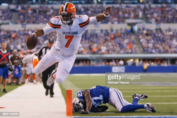 DeShone Kizer of the Cleveland Browns is tackled short of the endzone by Nate Hairston of the Indianapolis Colts during the second half at Lucas Oil...