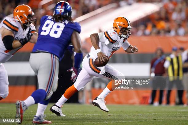 DeShone Kizer of the Cleveland Browns runs the ball in the first half of a preseason game against the New York Giants at FirstEnergy Stadium on...