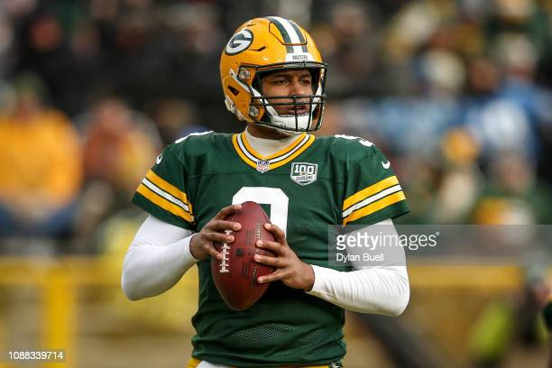 DeShone Kizer of the Green Bay Packers drops back to pass in the third quarter against the Detroit Lions at Lambeau Field on December 30 2018 in...