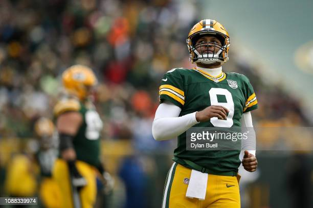 DeShone Kizer of the Green Bay Packers reacts in the third quarter against the Detroit Lions at Lambeau Field on December 30 2018 in Green Bay...