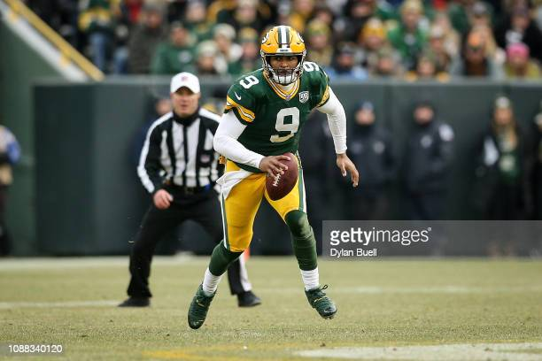 DeShone Kizer of the Green Bay Packers runs with the ball in the fourth quarter against the Detroit Lions at Lambeau Field on December 30 2018 in...