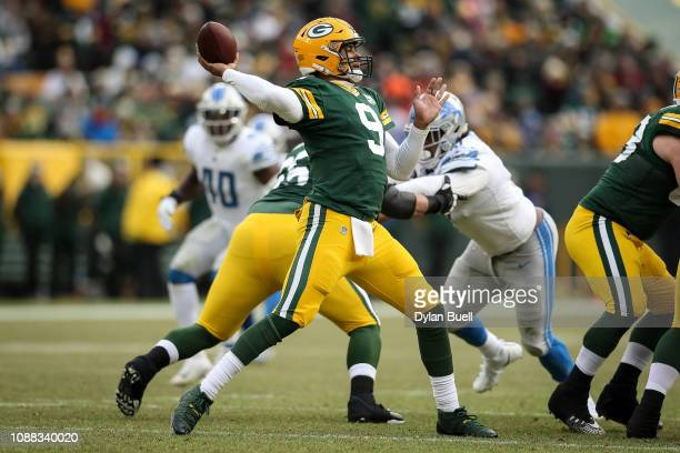 DeShone Kizer of the Green Bay Packers throws a pass in the third quarter against the Detroit Lions at Lambeau Field on December 30 2018 in Green Bay...