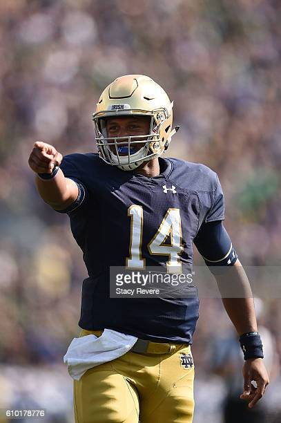 DeShone Kizer of the Notre Dame Fighting Irish celebrates a touchdown during the first half of a game against the Duke Blue Devils at Notre Dame...